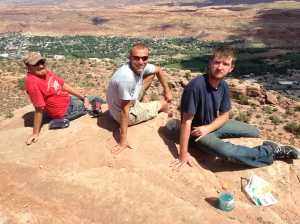 Me, Tyler, and Jonny at the overlook at the end of the Moab Rim trail. Downtown Moab is directly behind us