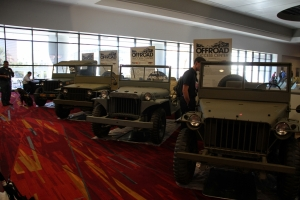 One of my favorite views of the event, where else are you going to see (from right to left) a Bantam prototype, Willys MA, Ford GP, and finally the iconic World War II Willys MB