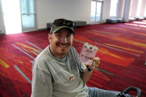Me proudly showing off my SEMA access pass, without one of these you can't even get in the door