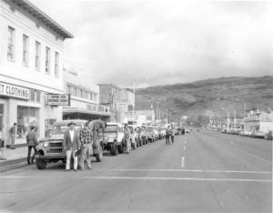 This is a picture from the first ever Jeep Safari back in 1967. Even still every Big Saturday we lineup on main Street, just like they did back then. Photo courtesy of the Times Independent